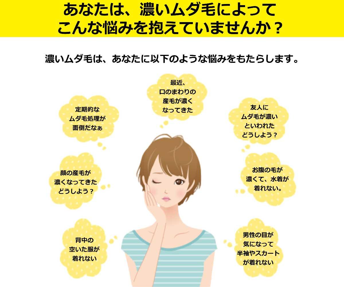 あなたは、濃いムダ毛に悩んでいませんか?